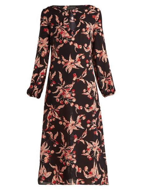 Dundas - Printed Silk Georgette Midi Dress - Womens - Black Pink