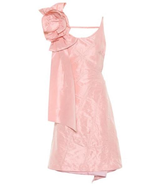 Miu Miu Distressed asymmetric silk dress in pink