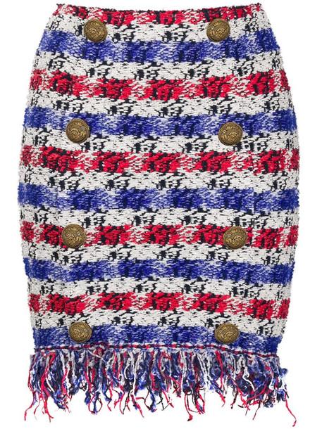 Balmain short fringed tweed skirt in blue