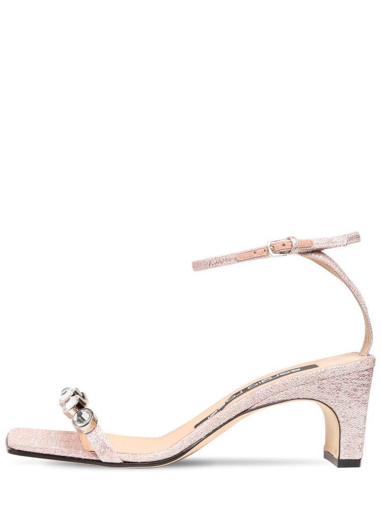 SERGIO ROSSI 60mm Embellished Lurex Sandals in pink