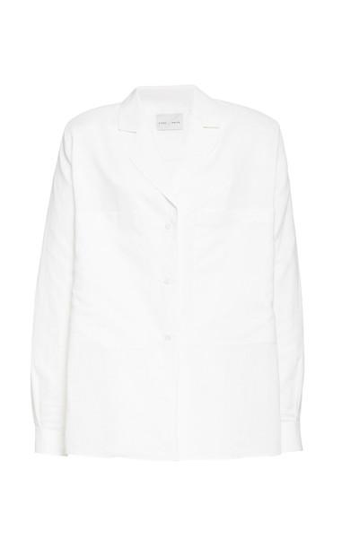 Piece of White Ellen Padded-Shoulder Linen Jacket Shirt Size: 34