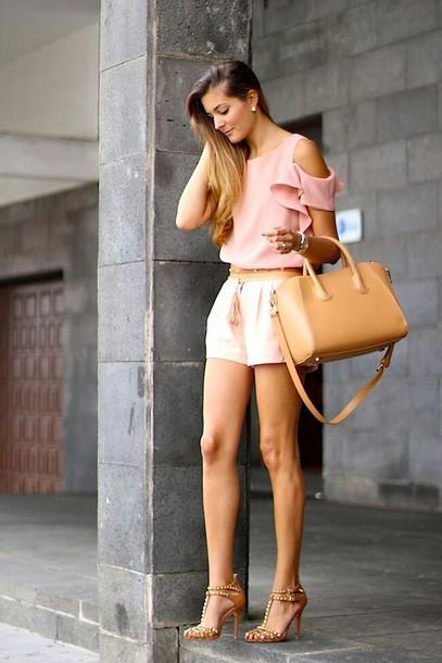 blouse summer top pink pink top bag beige beige bag belt