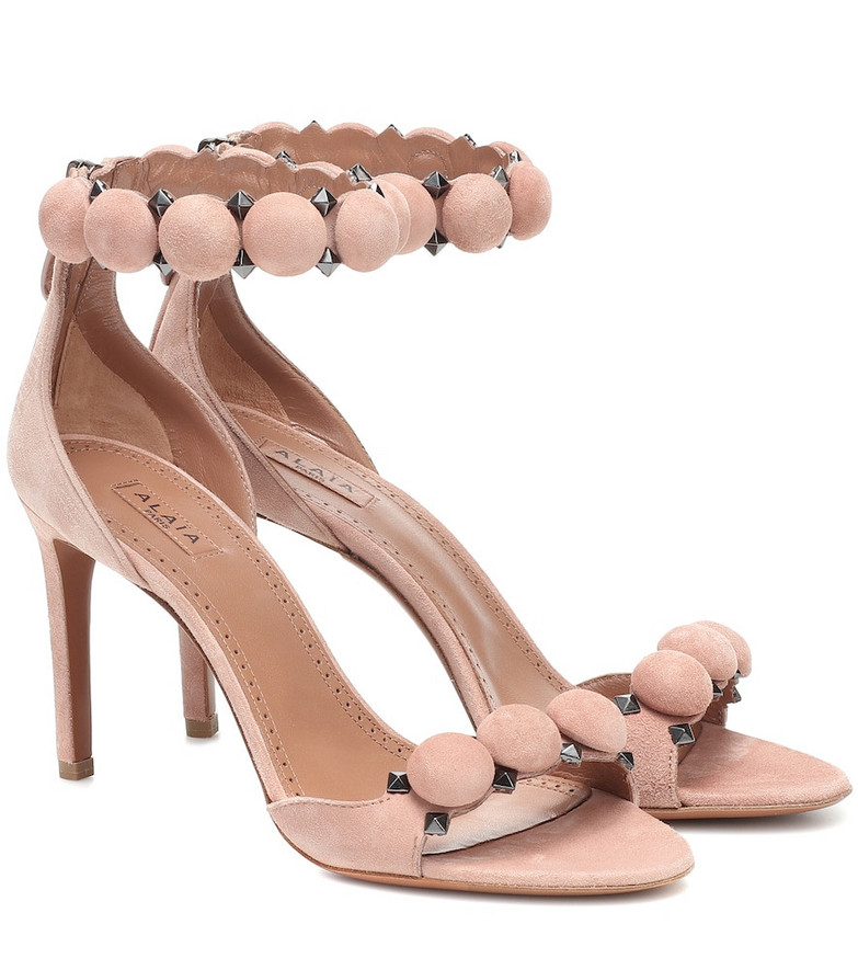 Alaïa Embellished suede sandals in pink