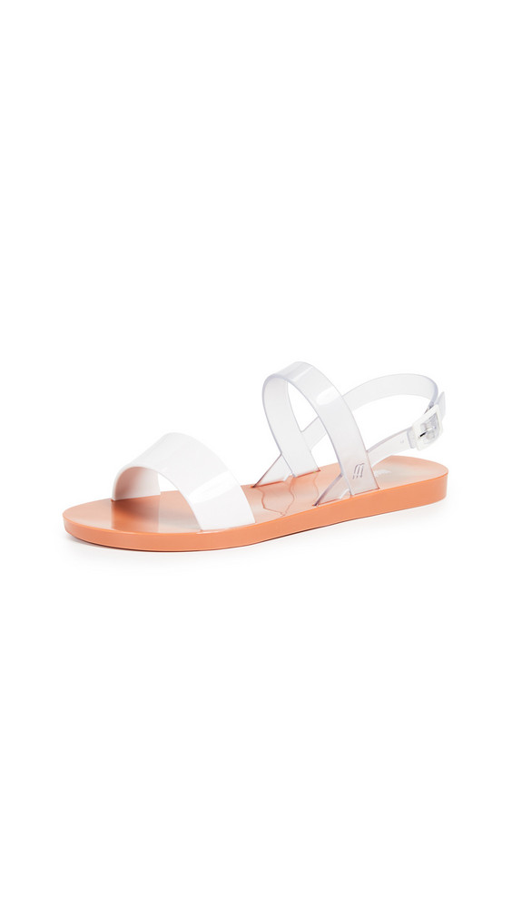 Melissa Lip Ad Sandals in orange / white / clear
