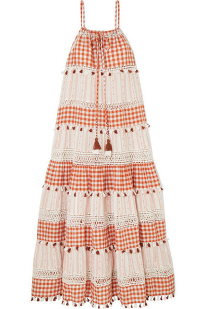 Dodo Bar Or - Tasseled Gingham Cotton-jacquard Maxi Dress - Orange