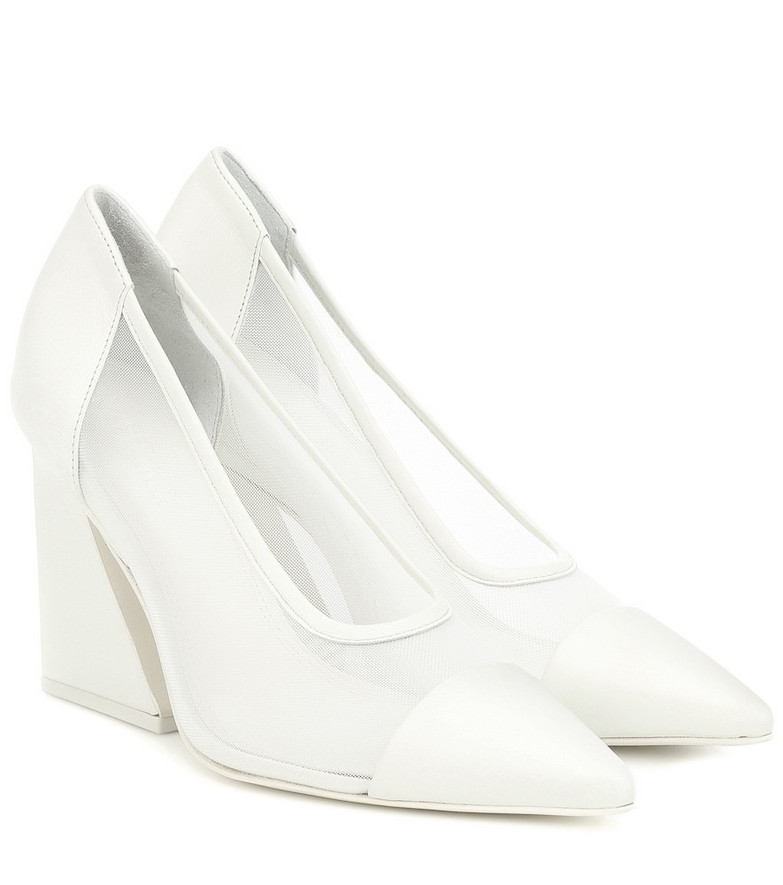 Mercedes Castillo Athena leather-trimmed pumps in white