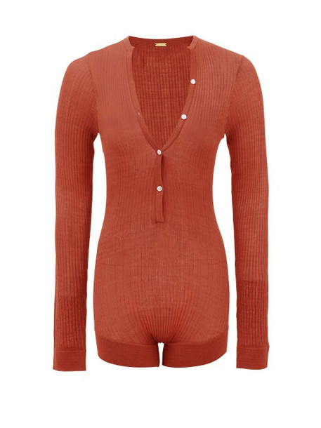 Dodo Bar Or - Tommy Buttoned Rib-knitted Silk Bodysuit - Womens - Brown
