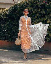 dress,tulle dress,maxi dress,shirt dress,polka dots,white dress,zara,white sandals,handbag,orange dress