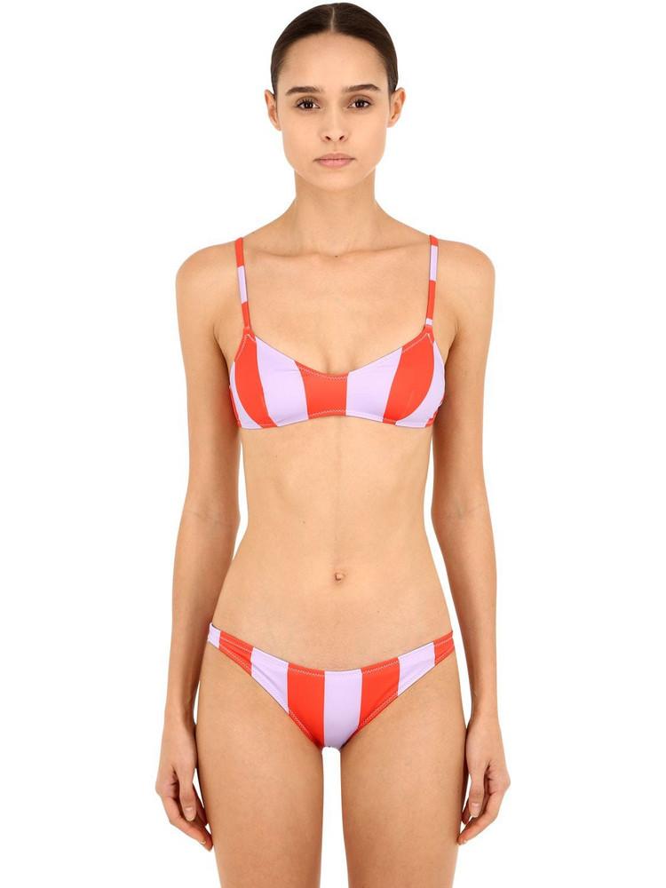 SOLID & STRIPED Striped Bikini Top in purple / red