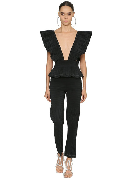 AREA Ruffled Techno Jumpsuit in black