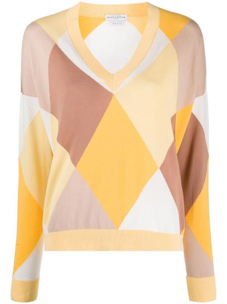 Ballantyne v-neck argyle check jumper in yellow