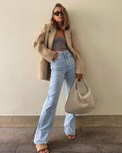 jeans,flare jeans,sandal heels,blazer,shoulder bag,crop tops