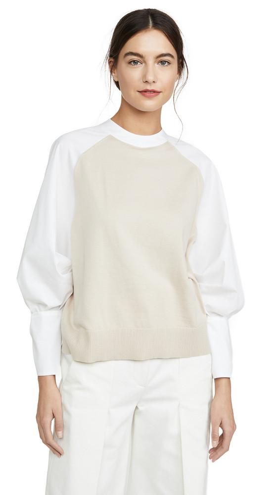 Adeam Bow Cuff Sweater in white / beige