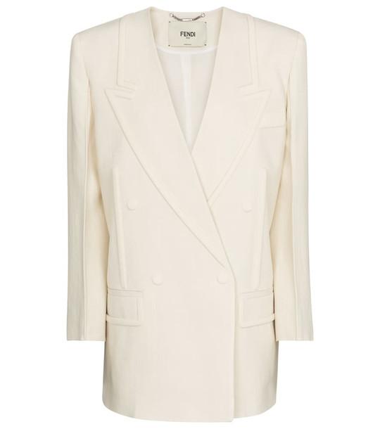 Fendi Double-breasted linen blazer in white