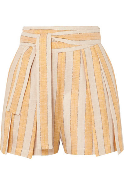 Three Graces London - Jola Metallic Striped Linen-blend Voile Shorts - Yellow