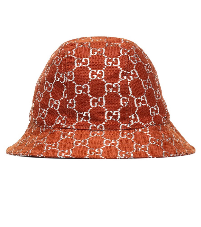 Gucci GG lamé wool-blend bucket hat in brown