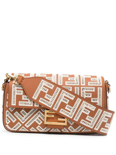 Fendi medium Baguette FF-embroidered bag - Brown
