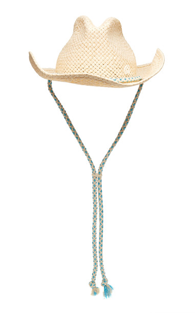 Maison Michel Austin Cord-Trimmed Straw Hat Size: L in neutral