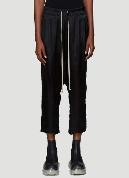 Rick Owens Dropped Crotch Satin Pants in Black size IT - 42