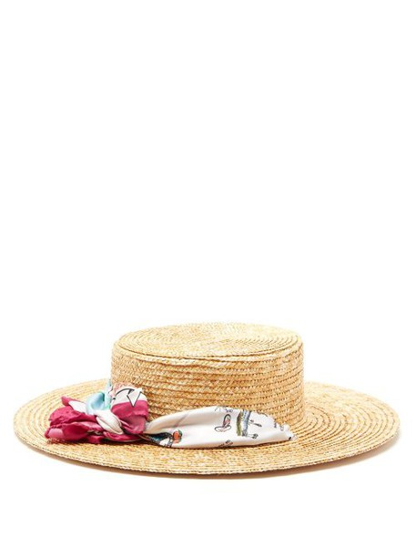 Filù Hats - Satin Scarf Straw Boater Hat - Womens - Pink