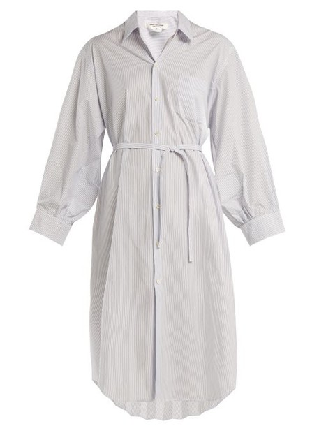Junya Watanabe - Pleat Back Striped Poplin Shirtdress - Womens - Light Blue