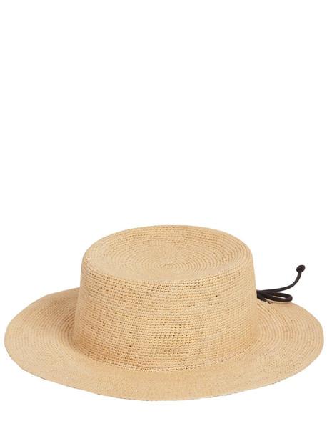 SENSI STUDIO Crochet Hippie Straw Bucket Hat in black / beige