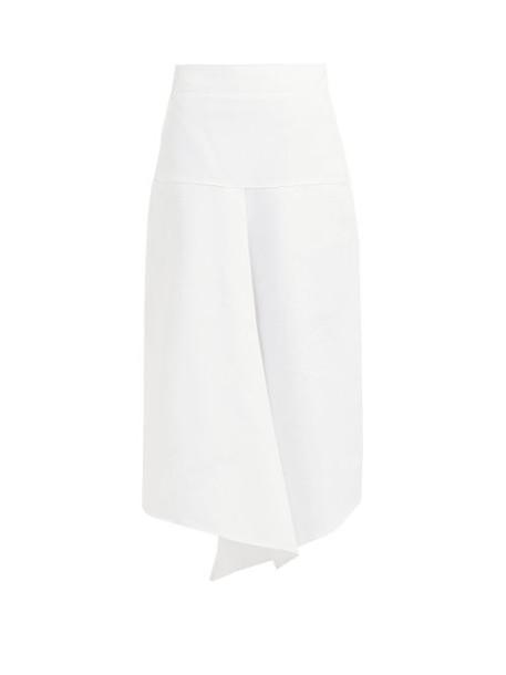 Tibi - Draped Asymmetric Cotton Midi Skirt - Womens - White