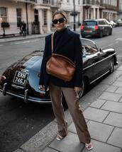 bag,brown bag,loewe bag,white sandals,flare pants,pleated,blazer,turtleneck sweater,sunglasses