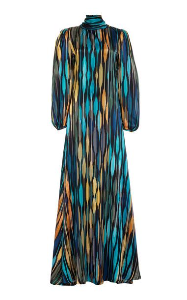Aliétte Printed Satin Maxi Dress in blue