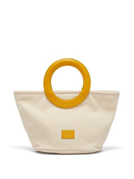 Zeus + Dione Zeus + Dione - Scorpio Leather-handle Canvas Tote Bag - Womens - Yellow White