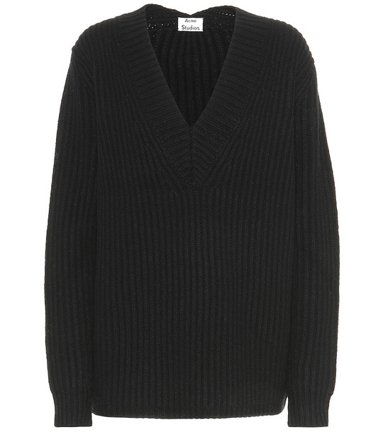 Acne Studios Ribbed-knit wool sweater in black