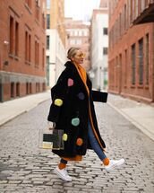coat,faux fur coat,long coat,oversized coat,polka dots,converse,socks,skinny jeans,orange coat,pvc,handbag,multicolor,model,model off-duty,lookbook,streetstyle,streetwear,fashion vibe