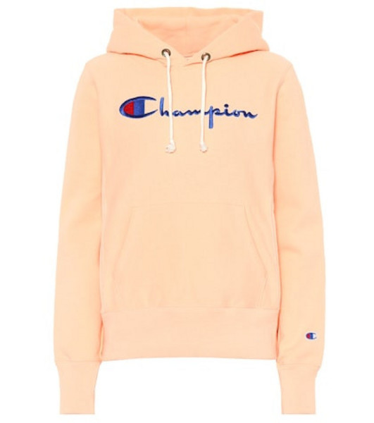 Champion Logo cotton hoodie in orange