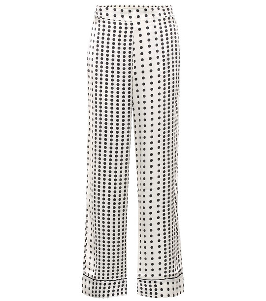 Asceno Polka-dot silk pajama pants in white