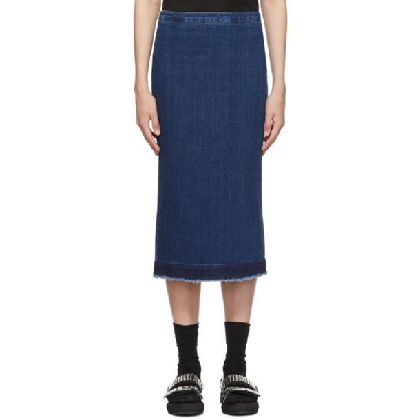 McQ Alexander McQueen Blue Kick Back Godet Skirt