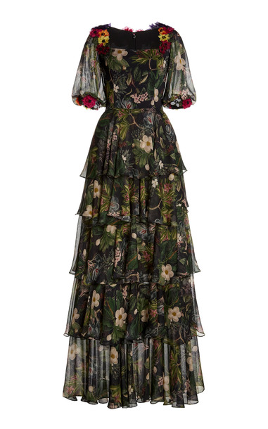 Costarellos Minna Floral-Appliquéd Printed Chiffon Tiered Gown in multi