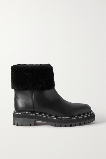 Proenza Schouler - Shearling-lined Leather Ankle Boots - Black