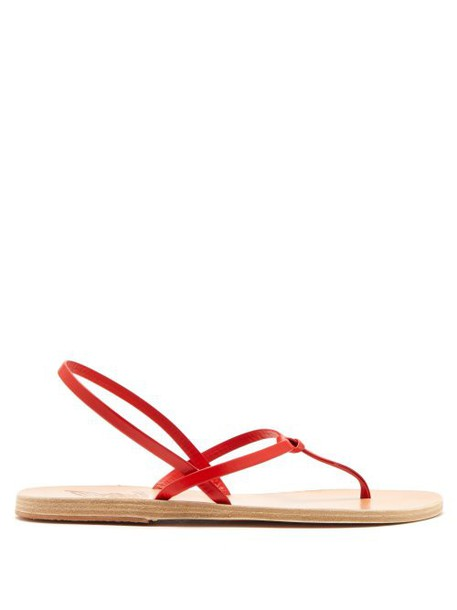 Ancient Greek Sandals - Dorothea Leather Sandals - Womens - Red