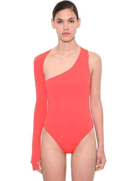 ANNAKIKI Huawei Cut Out Off Shoulder Bodysuit in red