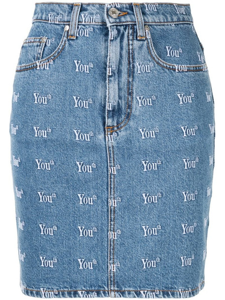 MSGM Youth denim skirt in blue