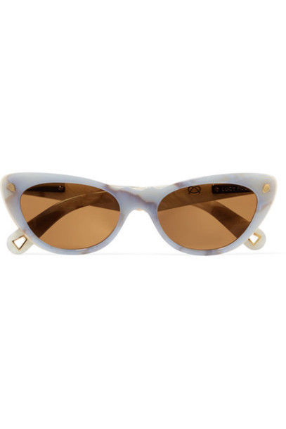 Lucy Folk - Slice Of Heaven Cat-eye Acetate And Gold-tone Sunglasses - Sky blue