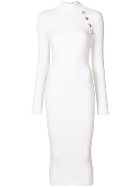 Balmain high neck knitted midi dress in white