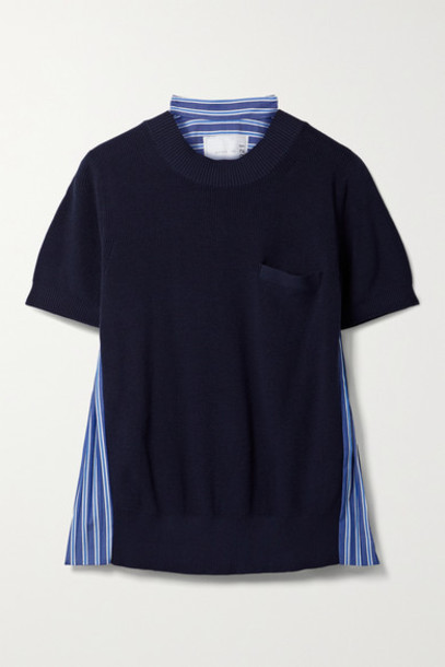 Sacai - Paneled Knitted And Pleated Striped Cotton-poplin T-shirt - Navy