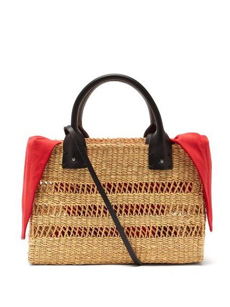 Muuñ Muuñ - Charlotte Canvas And Woven Grass Bag - Womens - Red