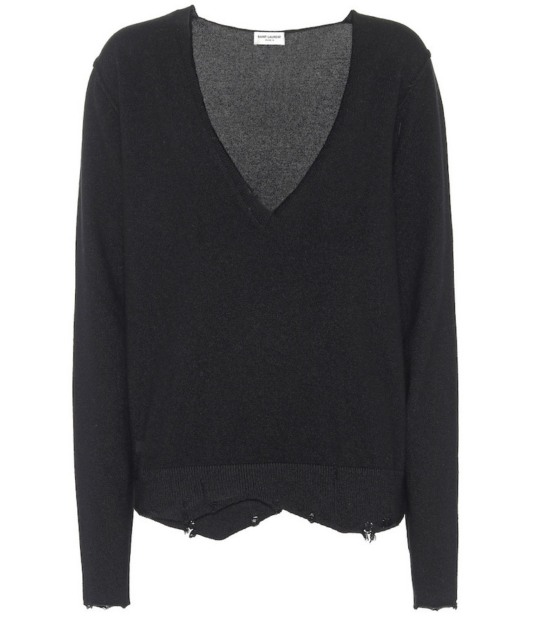 Saint Laurent Distressed cashmere sweater in black