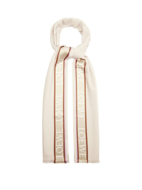 Loewe - Logo-tape Silk-blend Faille Scarf - Womens - Beige