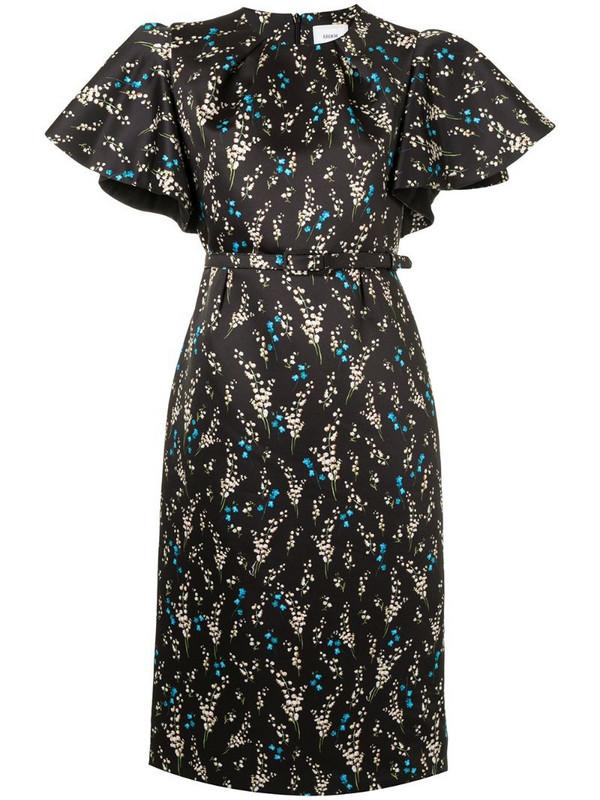 Erdem floral-print midi dress in black