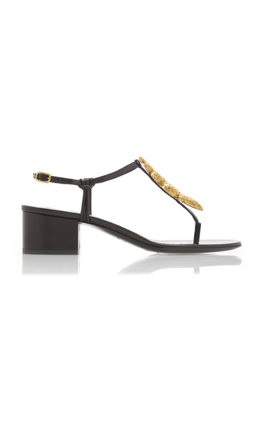 Valentino Snake-Buckle Leather Sandals in black
