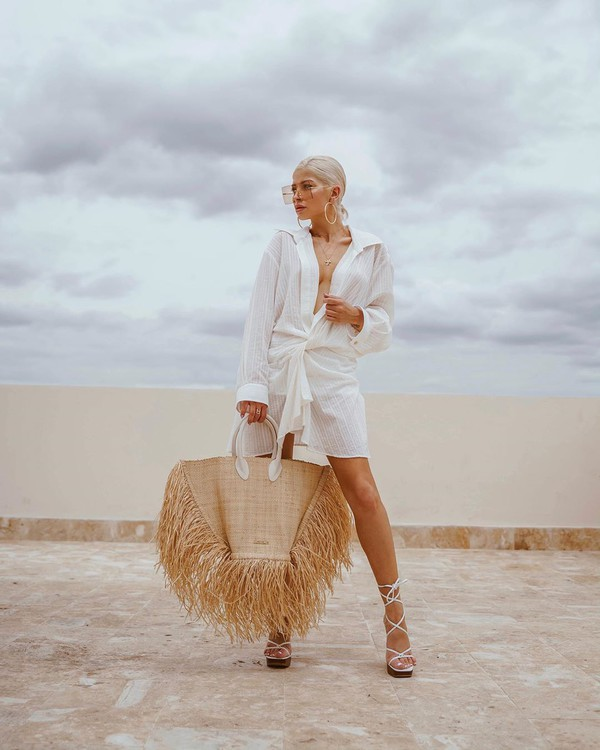 dress white dress shirt dress mini dress long sleeve dress white sandals woven bag maxi bag