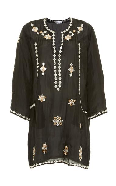 Juliet Dunn Embroidered Silk Mini Dress in black